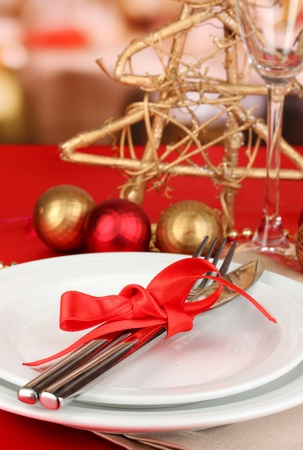 Serving Christmas table close-up Stock Photo - 16956244
