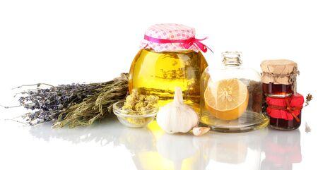 flue season: La miel y otros la medicina natural para el invierno de combusti�n, aislado en blanco