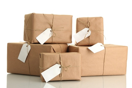 kraft: parcels boxes with kraft paper, isolated on white Stock Photo