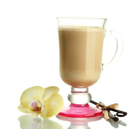 Fragrant coffee latte in glass cup with vanilla pods isolated on white Stock Photo - 16980001