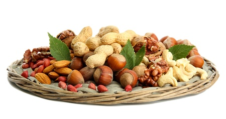 assortment of tasty nuts, isolated on white Stock Photo - 16999785