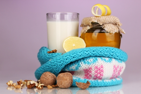 strengthening: Healthy ingredients for strengthening immunity on purple background Stock Photo