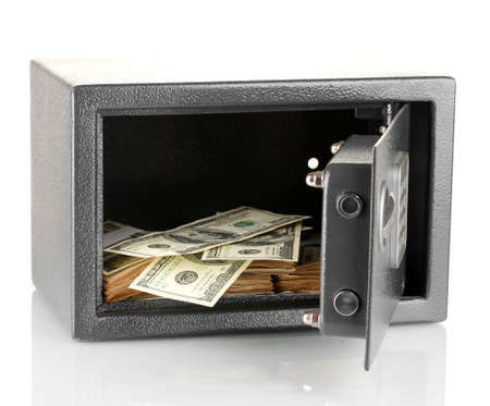 Money in open safe isolated on white Stock Photo - 16999887