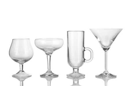 Collection of various glasses isolated on white Stock Photo - 16999264