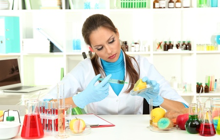 Young female scientist injecting GMO into   lemon in  laboratory  photo
