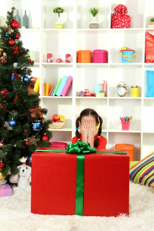 Little girl with large gift box near christmas tree Stock Photo - 17186550