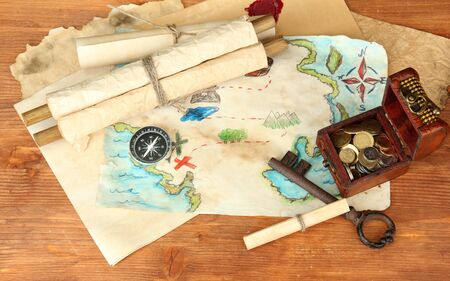 map of treasures on wooden background photo