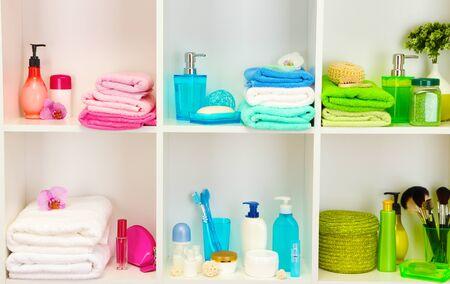 Bath accessories on shelfs in bathroom Stock Photo - 17000574