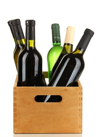 aligote: Wine bottles in wooden box isolated on white