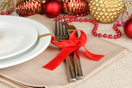 Serving Christmas table close-up Stock Photo - 17000907