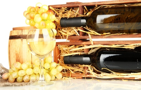 Wooden case with wine bottle, barrel, wineglass and grape isolated on white Stock Photo - 17000687