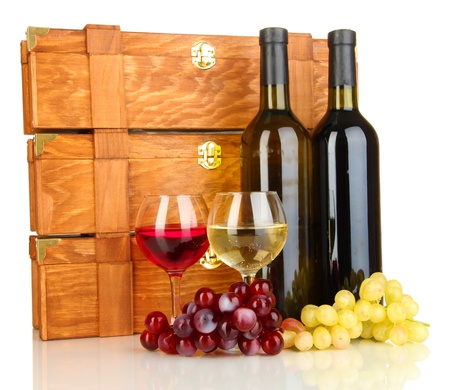 cabarnet: Wooden cases with wine bottles isolated on white Stock Photo