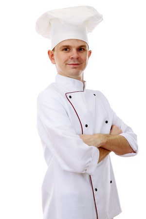 culinary skills: portrait of chef isolated on white Stock Photo