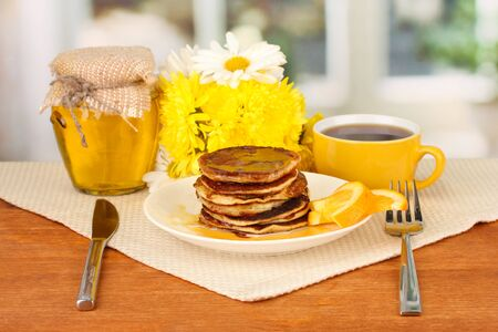 delicious sweet pancakes on bright background Stock Photo - 17015414