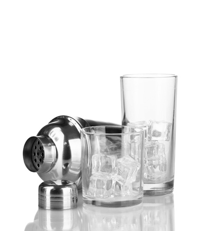 Cocktail shaker and glasses isolated on white Stock Photo - 17014888