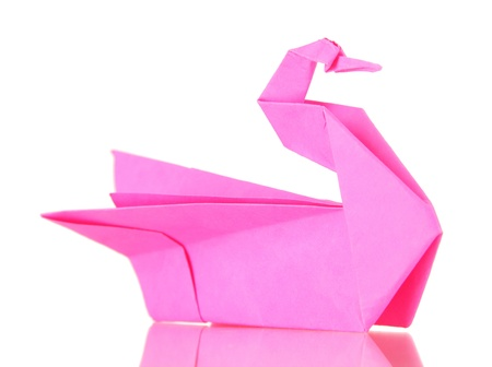Origami swan isolated on white photo