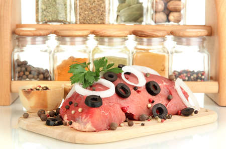microelements: Raw beef meat with spices closeup Stock Photo