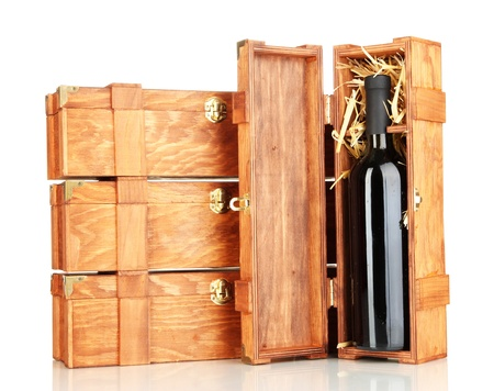 Wooden boxes for wine isolated on white photo