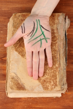 chiromancy: Chiromancy.Color contours on palm, on wooden background