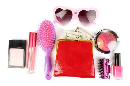 Items contained in the women's handbag isolated on white Stock Photo - 17020788