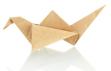Origami crane isolated on white photo