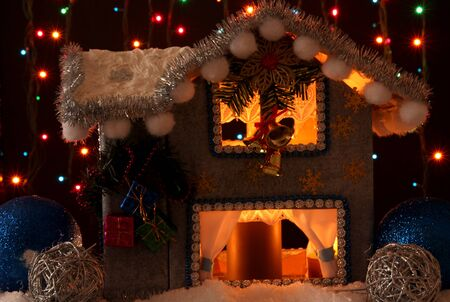 Decorated Christmas house with lights on dark background Stock Photo - 17021613