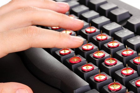 Painful typing on keyboard close-up Stock Photo - 17048168