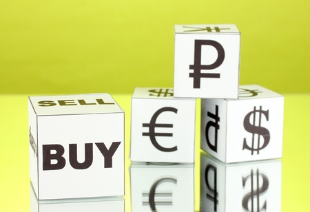 forex. currency in the white dices on green background Stock Photo - 17046574