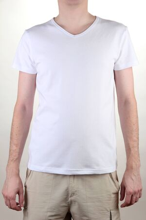 man in white T-shirt close-up Stock Photo - 17047959