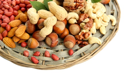assortment of tasty nuts, isolated on white Stock Photo - 17048028