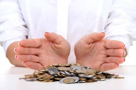 Woman hands with coins, close up Stock Photo - 17047309