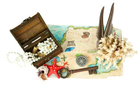 map of treasures isolated on white Stock Photo - 17140280