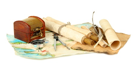 map and treasures, isolated on white Stock Photo - 17129519