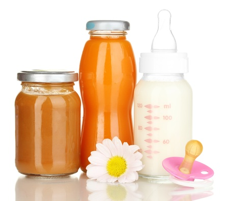 Baby food, bottle and juice isolated on white photo