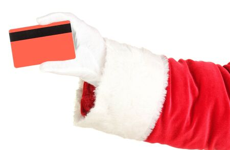 st nick: Santa Claus hand holding red credit card isolated on white
