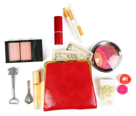 Items contained in the women's handbag isolated on white Stock Photo - 17046771