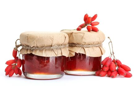 ripe barberries and jars of jam isolated white Stock Photo - 17053808