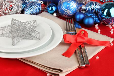 Serving Christmas table close-up Stock Photo - 17054660