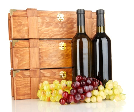 Wooden cases with wine bottles isolated on white Stock Photo - 17054030