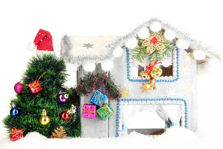 Decorated Christmas house isolated on white Stock Photo - 17054451