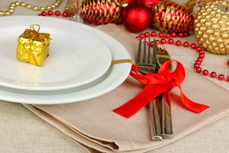 Serving Christmas table close-up Stock Photo - 17064536