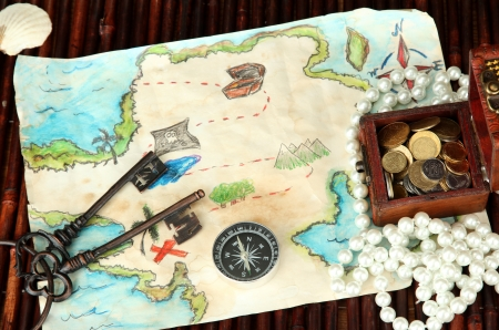 map of treasures on dark wooden background Stock Photo - 17086760