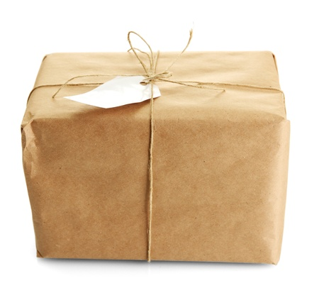 kraft: parcel box with kraft paper, isolated on white