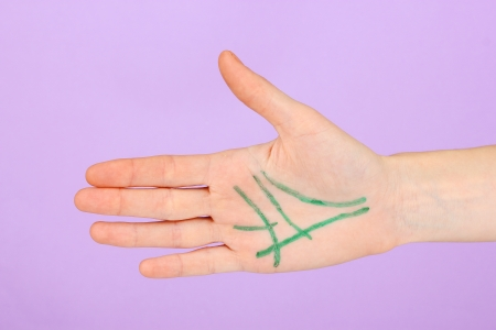 Chiromancy.Color contours on palm, on color background Stock Photo - 17086561
