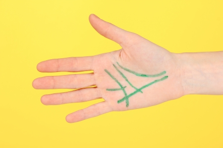 chiromancy: Chiromancy.Color contours on palm, on color background Stock Photo