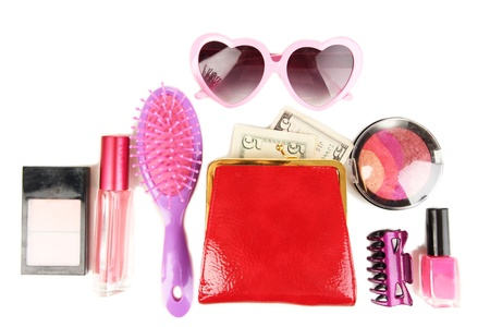 Items contained in the women's handbag isolated on white Stock Photo - 17086147
