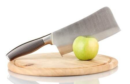 tastyhealth: Green apple and knife on cutting board, isolated on white