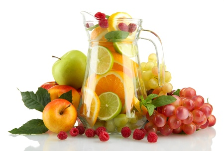 transparent jar with exotic  fruits, isolated on white Stock Photo - 17110551