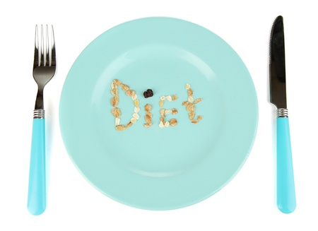 microelements: The word Diet laid out on blue bowl of muesli isolated on white