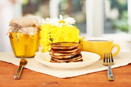 delicious sweet pancakes on bright background Stock Photo - 17111049